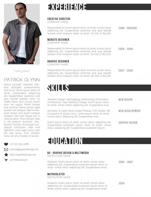 free creative resume templates designinstance. Black Bedroom Furniture Sets. Home Design Ideas