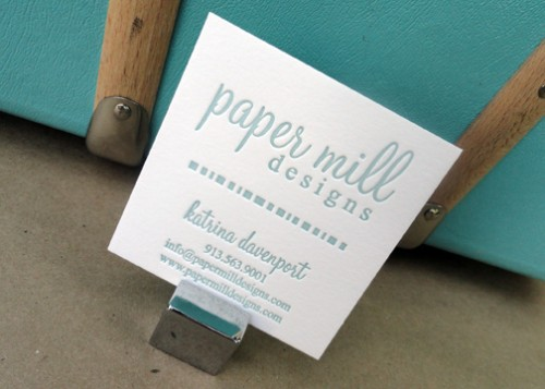 Square Letterpress Business Card