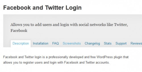 Facebook and Twitter Login