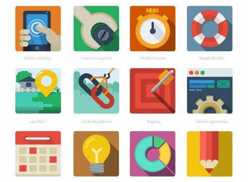 12 Perfect Free Flat Color SEO Icons