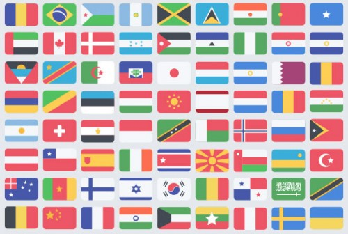 195 Flat Flag PSD Icons for Free Download