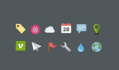 25 Fresh Flat Style Vector Free Icons
