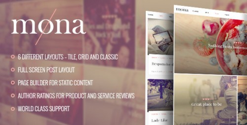 Mona - Personal Blog with Reviews WordPress Theme